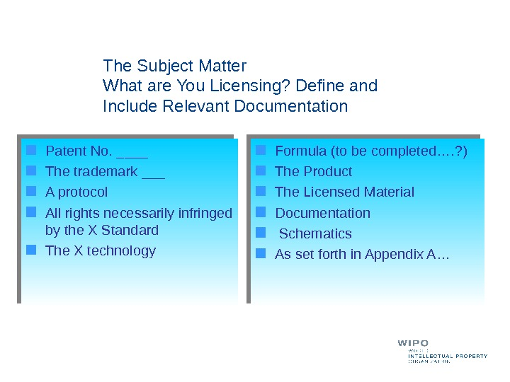 The Subject Matter What are You Licensing? Define and Include Relevant Documentation Patent No. ____ The