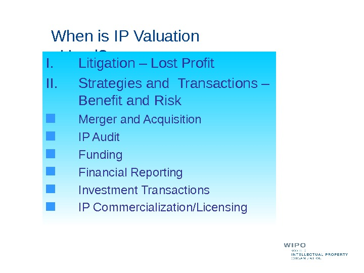 When is IP Valuation Used? I. Litigation – Lost Profit II. Strategies and Transactions