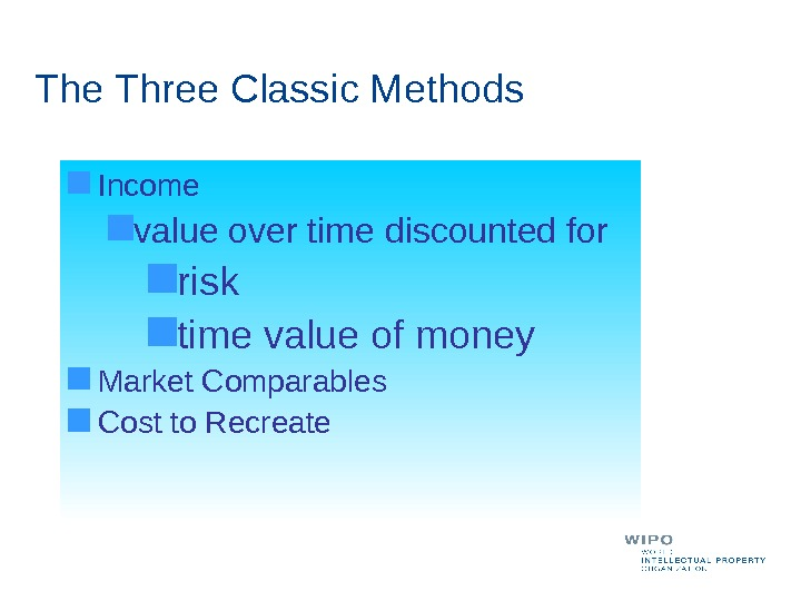 The Three Classic Methods Income value over time discounted for risk time value of money Market