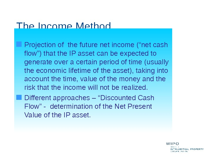 "The Income Method Projection of the future net income (""net cash flow"") that the IP asset"