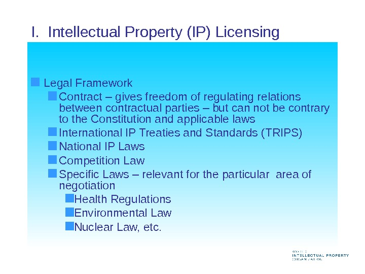 I.  Intellectual Property (IP) Licensing  Legal Framework Contract – gives freedom of regulating relations