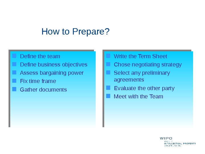 How to Prepare? Define the team Define business objectives Assess bargaining power Fix time frame Gather