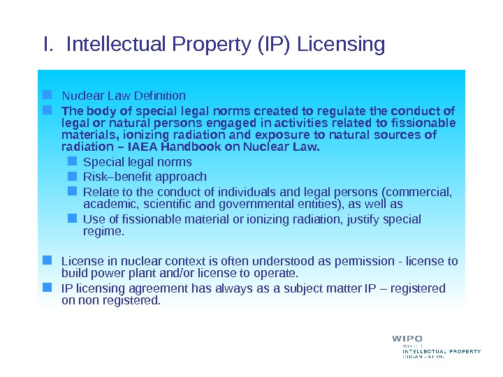 I.  Intellectual Property (IP) Licensing  Nuclear Law Definition The body of special legal norms