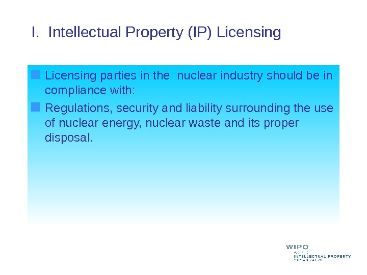 I.  Intellectual Property (IP) Licensing parties in the nuclear industry should be in compliance with:
