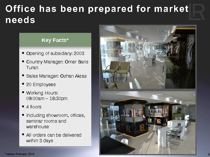 9 Key Facts* Opening of subsidiary: 2003 Country Manager: Ömer Baris Turan Sales Manager: Özhan Aktas