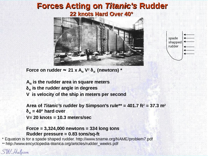Forces Acting on Titanic's Rudder 22 knots Hard Over 40° Force on rudder  21 x