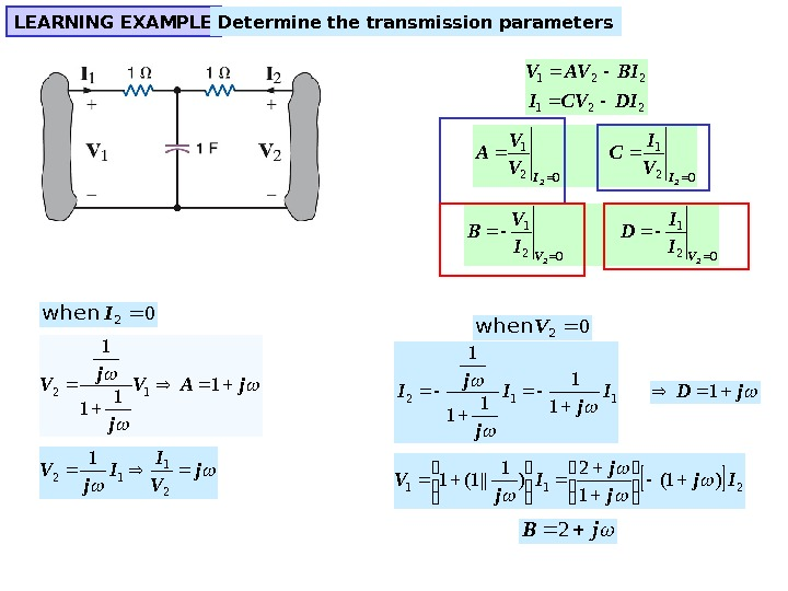 LEARNING EXAMPLE Determine the transmission parameters 221 DICVI BIAVV  021 22 II V I C