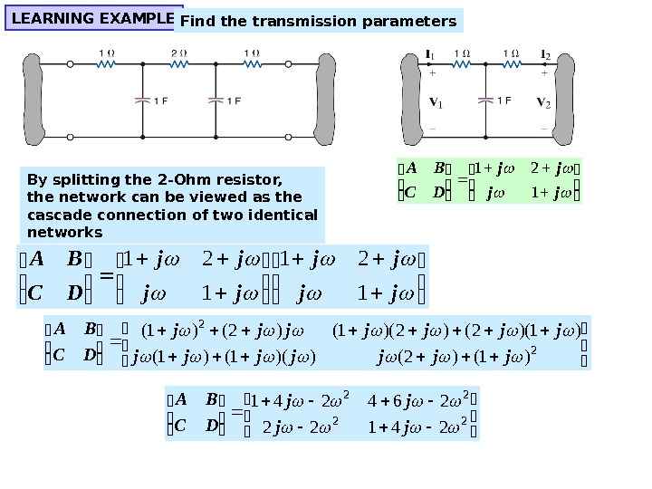 LEARNING EXAMPLE Find the transmission parameters By splitting the 2 -Ohm resistor, the network can be