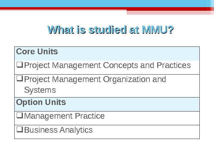What is studied at MMU? Core Units Project Management Concepts and Practices Project Management Organization and