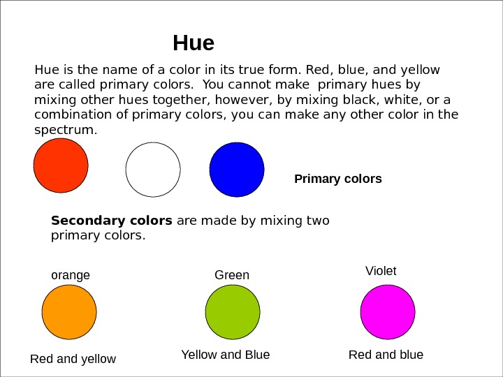 Hue is the name of a color in its true form. Red, blue, and yellow are