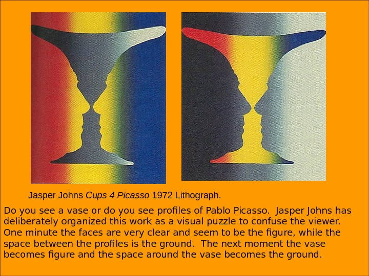 Jasper Johns Cups 4 Picasso 1972 Lithograph. Do you see a vase or do you see