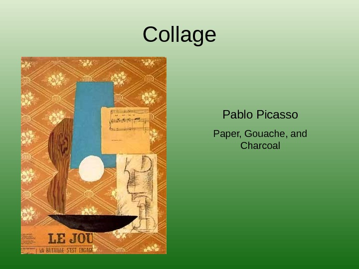 Collage Pablo Picasso Paper, Gouache, and Charcoal