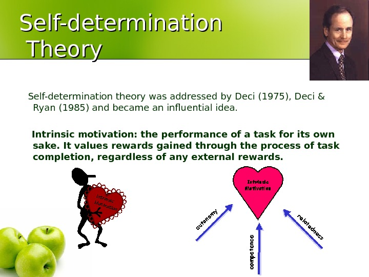 Self-determination Theory Self-determination theory was addressed by Deci (1975), Deci & Ryan (1985) and became an