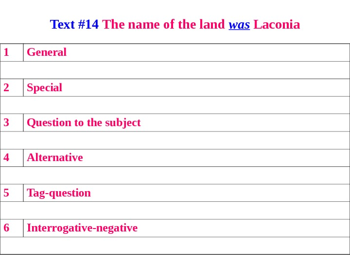 Text #14 The name of the land was Laconia 1 General 2 Special 3