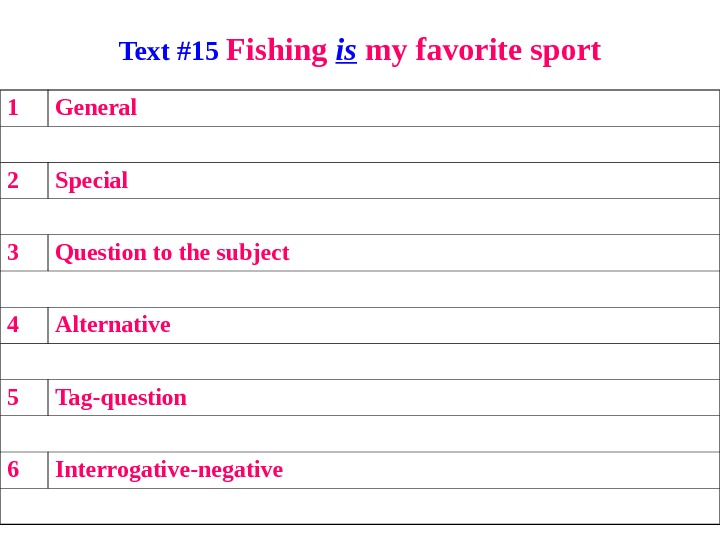 Text #15 Fishing is my favorite sport 1 General 2 Special 3 Question to