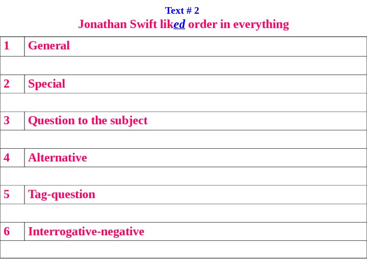 Text # 2 Jonathan Swift lik ed order in everything 1 General 2 Special