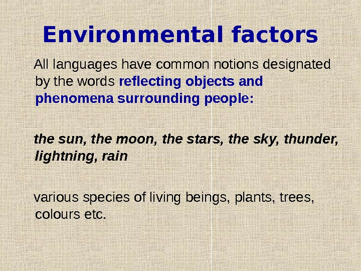 Environmental factors All languages have common notions designated by the words reflecting objects and