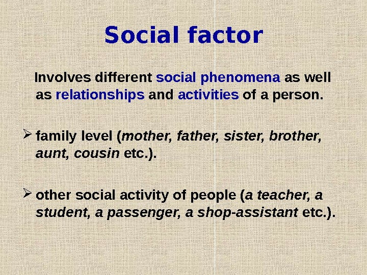 Social factor   Involves different social phenomena as well as relationships and activities