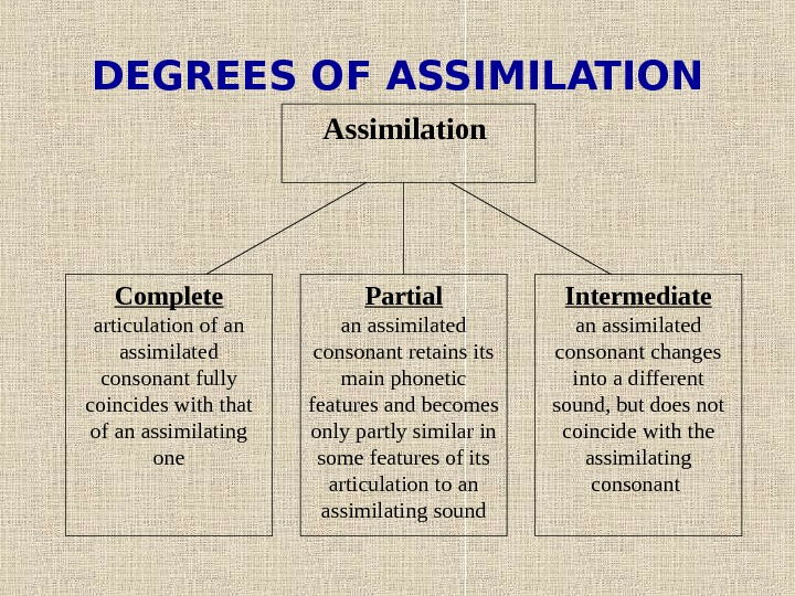 DEGREES OF ASSIMILATION Assimilation  Complete articulation of an assimilated consonant fully coincides with