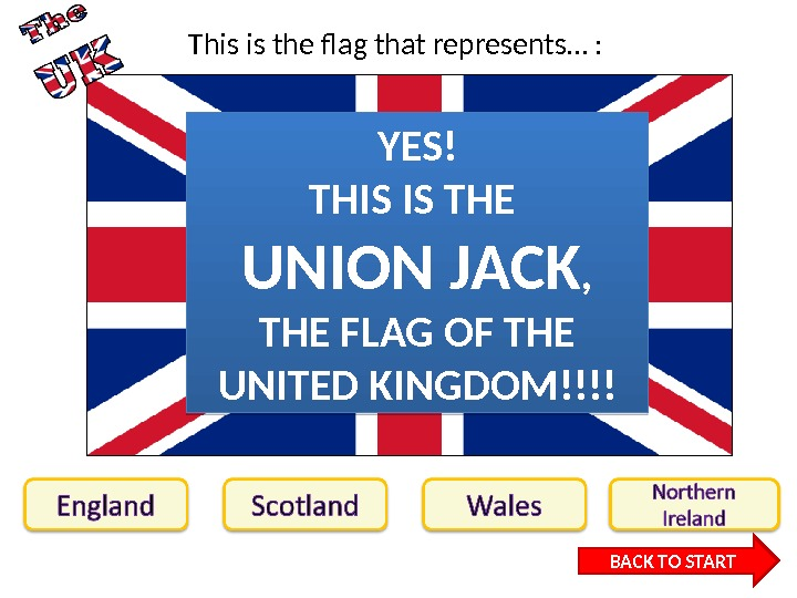This is the flag that represents… : BACK TO STARTYES! THIS IS THE UNION JACK ,