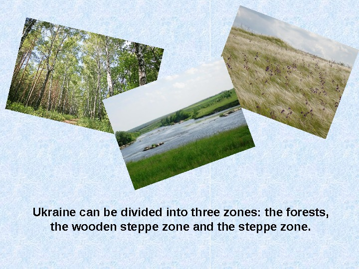 Ukraine can be divided into three zones: the forests,  the wooden steppe zone