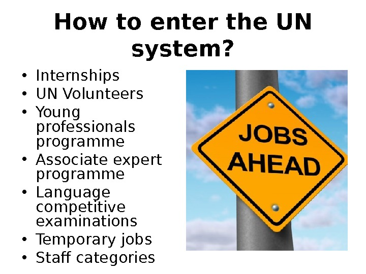How to enter the UN system?  • Internships • UN Volunteers • Young professionals programme