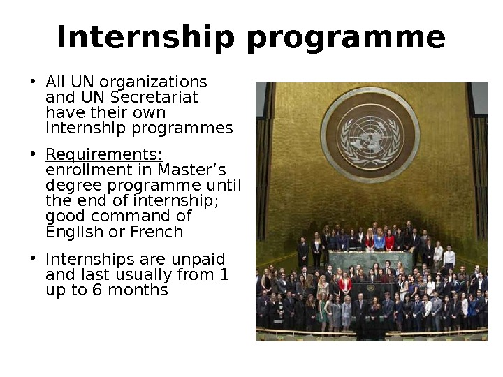 Internship programme • All UN organizations and UN Secretariat have their own internship programmes • Requirements: