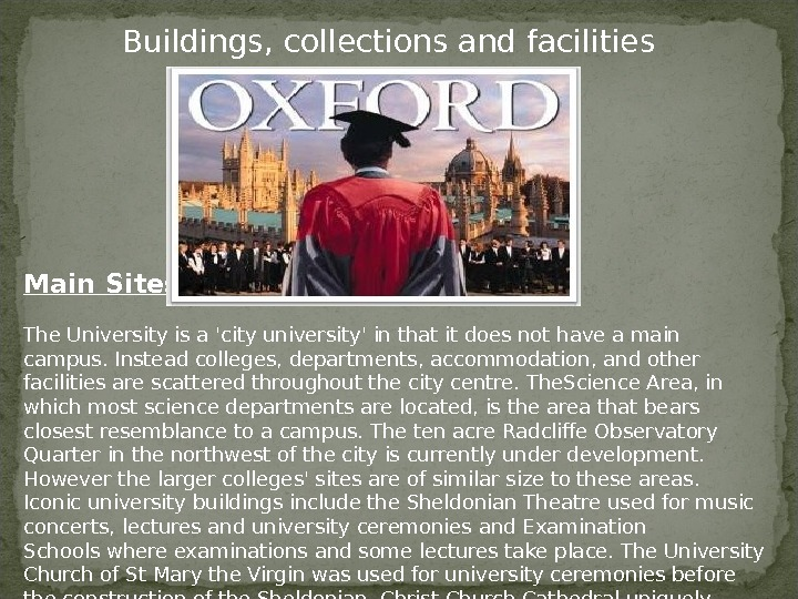 Buildings, collections and facilities Main Sites The University is a 'city university' in that it does