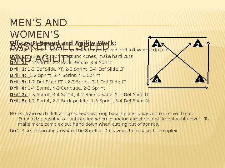 MEN'S AND WOMEN'S BASKETBALL SPEED AND AGILITY Off court Speed and Agility Work: Box Agility Drills: