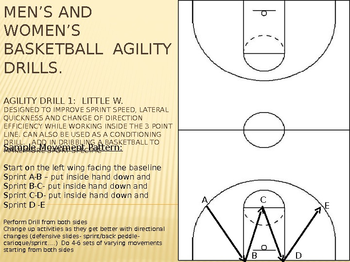 MEN'S AND WOMEN'S BASKETBALL AGILITY DRILLS. AGILITY DRILL 1:  LITTLE W. DESIGNED TO IMPROVE SPRINT