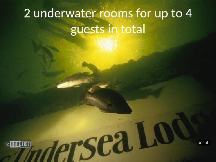 2 underwater rooms for up to 4 guests in total