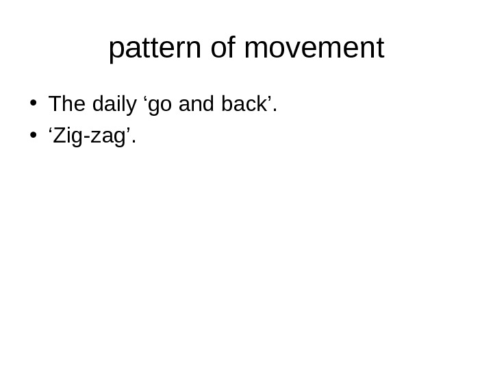 pattern of movement • The daily 'go and back'.  • ' Zig-zag'.