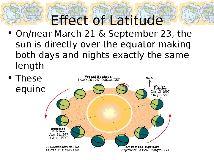 Effect of Latitude • On/near March 21 & September 23, the sun is directly over the
