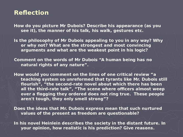 Reflection  How do you picture Mr Dubois? Describe his appearance (as you see it), the