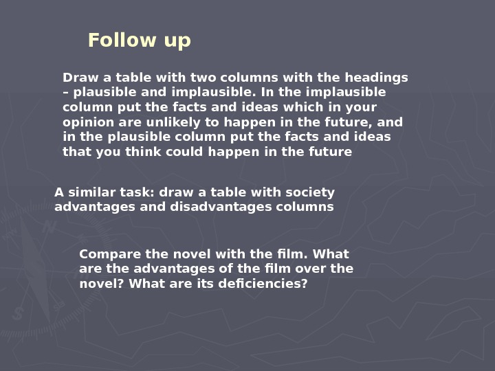 Follow up  Draw a table with two columns with the headings – plausible and implausible.
