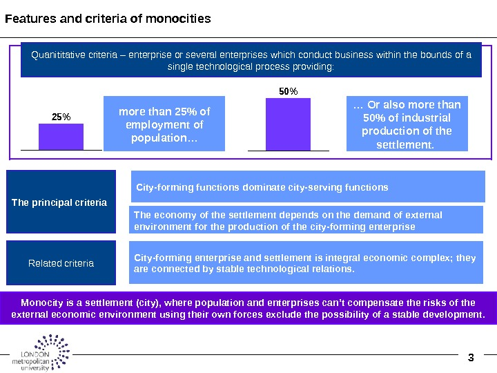 3 Features and criteria of monocities City-forming enterprise and settlement is integral economic complex; they are