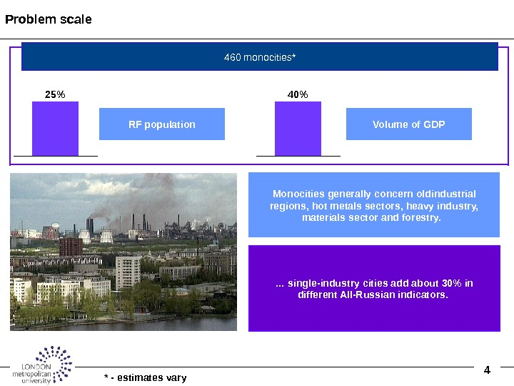 4 Problem scale Monocities generally concern oldindustrial regions, hot metals sectors, heavy industry,  materials sector