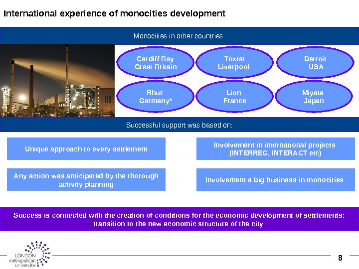 8 International experience of monocities development  Monocities in other countries Rhur Germany * Lion France.