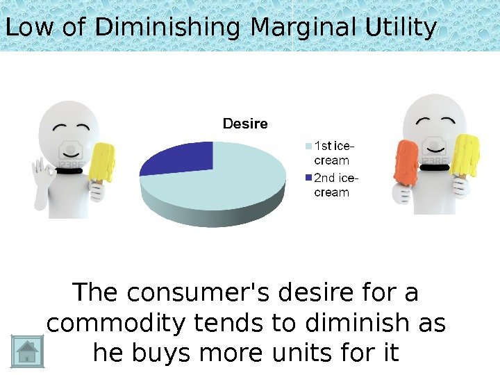 Low of Diminishing Marginal Utility The consumer's desire for a commodity tends to diminish as he