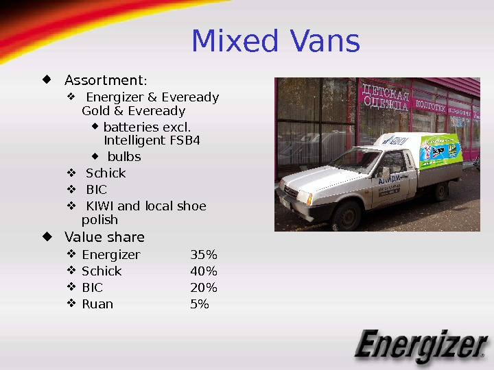 Mixed Vans  Assortment : Energizer & Eveready  Gold & Eveready batteries excl.