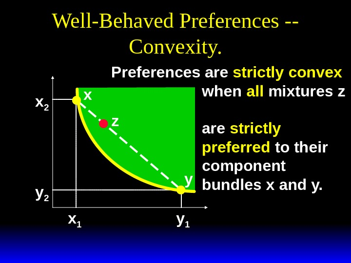 Well-Behaved Preferences -- Convexity. xx 22 yy 22 xx 11 yy 11 x y. Preferences are