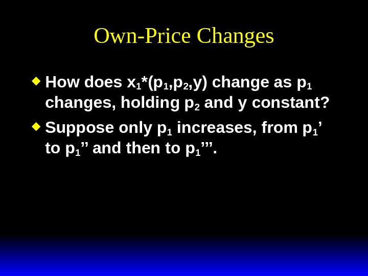 Own-Price Changes How does x 1 *(p 1 , p 2 , y) change as p