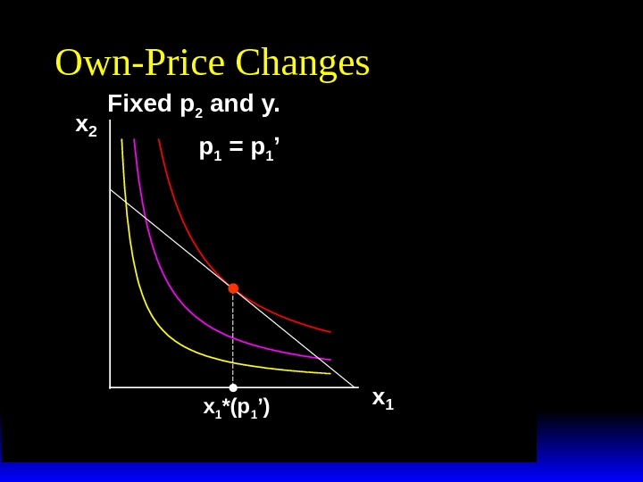x 2 x 1 *(p 1 ')Own-Price Changes p 1 = p 1 'Fixed p 2