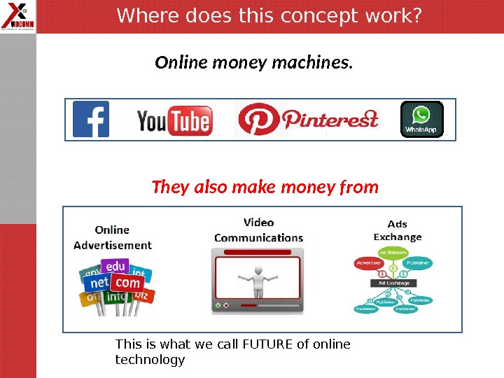 Where does this concept work? Online money machines.  They also make money from This is