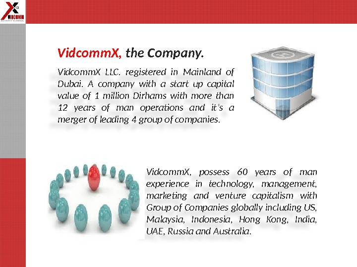 Vidcomm. X LLC.  registered in Mainland of Dubai.  A company with a start up