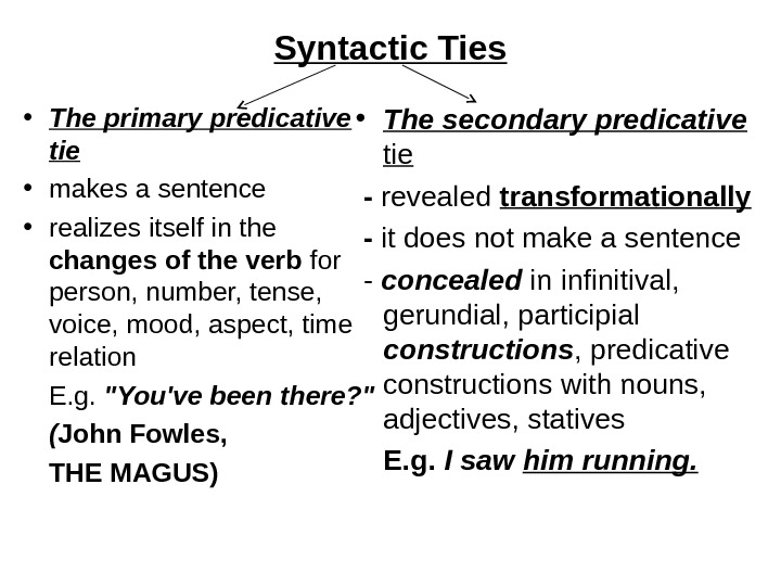 Syntactic Ties • The primary predicative tie • makes a sentence  • realizes itself in