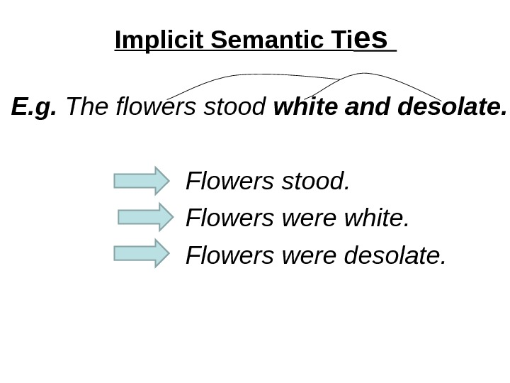 Implicit Semantic Ti es E. g.  The flowers stood white and desolate. Flowers stood.