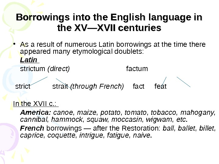 Borrowings into the English language in the XV—XVII centuries • As a result of numerous Latin