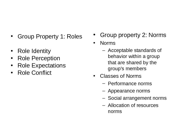 • Group Property 1: Roles • Role Identity • Role Perception • Role Expectations •