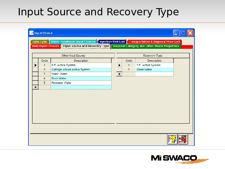 Input Source and Recovery Type